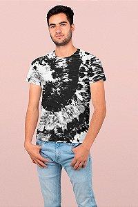 Camiseta Unissex Tie Dye Preto e Branco