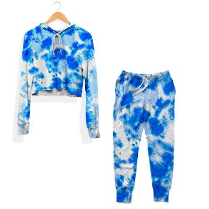 Kit Cropped e Calça Tie Dye Azul