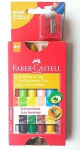 Lápis de Colorir Grosso Faber Castell - 12 cores + apontador