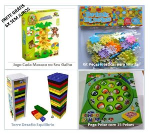 Kit Diversão Garantida (Jogo Cada Macaco no seu Galho, Kit Peças Plásticas Números, Torre Desafio e Jogo Pega Peixe)