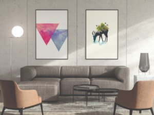 Quadro para sala formas triangulares