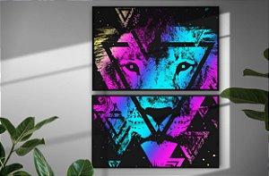 Kit 2 Quadros Decortivos Leão Abstrato Abstract Lion