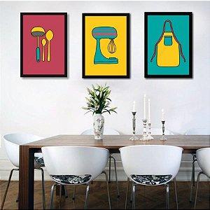 Kit 3 Quadros Para Sala de Jantar ou Cozinha