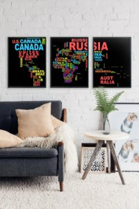 Kit 3 Quadros Decorativos Contínuos Países Para Salas