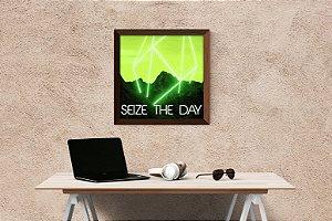 """Quadro Decorativo Motivacional """"Seize The Day"""""""