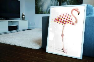 Quadro Decorativo Para Salas Flamingo Illustration