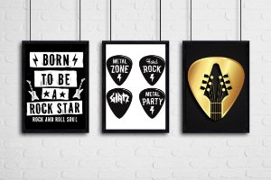 """Kit 3 Quadros Tematicos Rock """"Born To Be A Rock Star"""" , """"Metal Zone"""" , """"Hard Rock"""" , """"Giam"""" , """"Metal Party"""""""