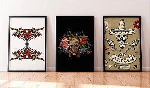 Kit 3 Quadros Temáticos Rock - Guns N Roses