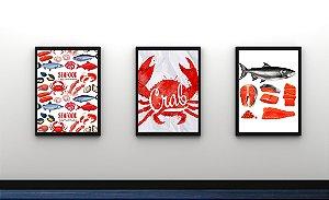 Kit 3 Quadros Decorativos Temático Frutos Do Mar
