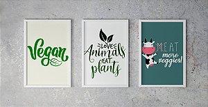 Kit 3 Quadros Decorativos Para Cozinhas e Ambientes Veganos