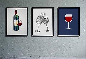 Kit 3 Quadros Decorativos Temáticos Vinhos e Taças de Vinhos