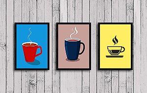 Kit 3 Quadros Decorativos Canécas de Café