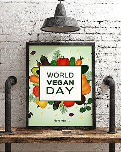 "Quadro Decorativo "" World Vegan Day "" Dia Mundial do Vegano"