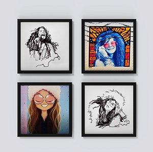 Kit 3 Quadros Decorativos Musicais Retratos Janis Joplin