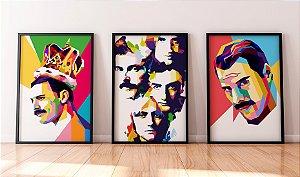 Kit 3 Quadros Decorativos Temáticos Freddie Mercury - Abstract Queen