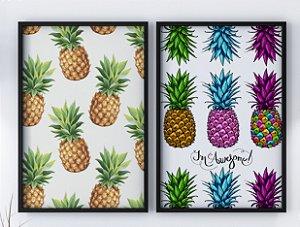 Kit 2 Quadros Decorativos Pinealpple & Abstract Pineapple