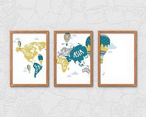 Kit 3 Quadros Decoativos Infantil/Juvenil Mapa Continuo