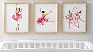 Kit 3 Quadros Juvenil Ballet Dancer