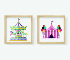 Kit 2 Quadros Infantis Cartoon Circus