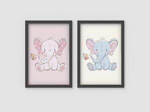 Kit 2 Quadros Infantis Cute Baby Elephants