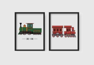 Kit 2 Quadros Infantis Decorativos Cartoon Little Trains