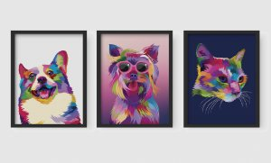 Kit 3 Quadros Decorativos Infanti/Juvenil Abstract Dogs And Abstract Cat