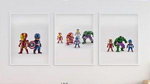 Kit 3 Quadros Infantil/Juvenil Marvel Heroes Toys