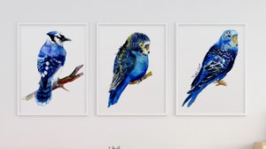 Kit 3 Quadros Juvenil Abstract Blue Birds Painting