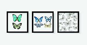 Kit 3 Quadros Infantil/Juvenil Butterflies