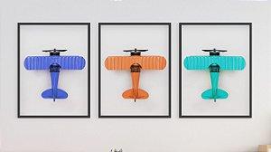 Kit 3 Quadros Infantil/Juvenil Airplane Colorful Toys