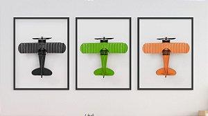 Kit 3 Quadros Infantil/Juvenil - 3 Airplane Colorful Toys