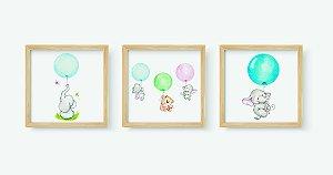 Kit 3 Quadros Infantis Cute Elephants Holding In Balloons