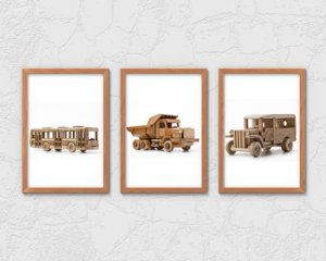 Kit 3 Quadros Infantil/Juvenil Wooden Bus And Trucks