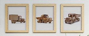 Kit 3 Quadros Infantil Wooden Toys Trucks