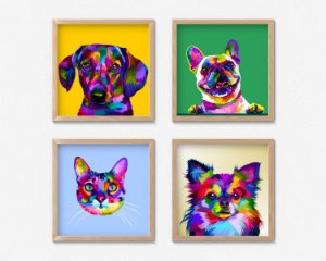 Kit 4 Quadros Decorativos Infantil/Juvenil Abstract Cat And Dogs