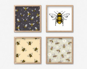 Kit 4 Quadros Decorativos Infantis Bee Arts