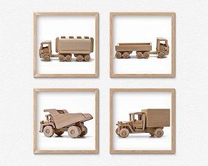 Kit #2 - 4 Quadros Infantil Wooden Toys Trucks