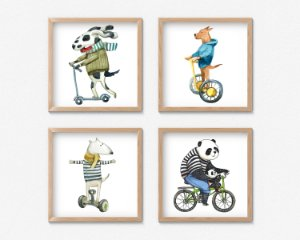 Kit 4 Quadros Decorativos Infantil/Juvenil Smiling Animals