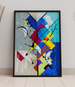 Quadro Decorativo Abstract Splashes And Geometric Lines