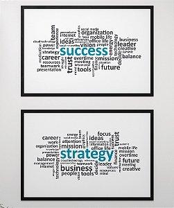 """Kit de 2 Quadros """"Success"""" e """"Strategy"""""""