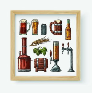Quadro Decorativo Gourmet Beer Set With Tap, Glass, Can, Bottle, Hop Branch With Leaf