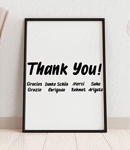 """Quadro decorativo """"Thank you!"""" em várias línguas"""