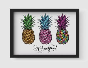 Quadro Decorativo Gourmet Three Multicolored Pineapples Fruit Lettering Awesome On White Background