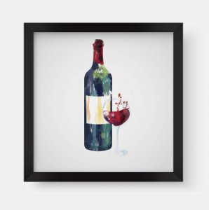 Quadro Decorativo Gourmet Bottle And Glass Of Red Wine