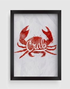 Quadro Decorativo Gourmet Watercolor Crab With Lettering On Crumpled Paper