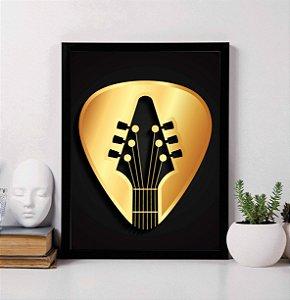 Quadro Decorativo Golden Guitar Pick.