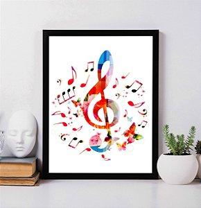 Quadro Decorativo Musical - Notas Musicais.