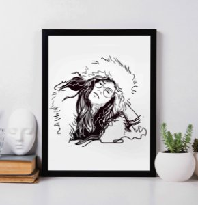 Quadro Decorativo Musical - Janis Joplin Draw Art.