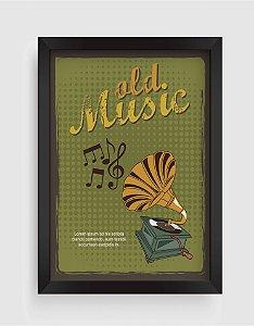 Quadro Decorativo Musical Retro Vintage Old Music Vinyl Record Player