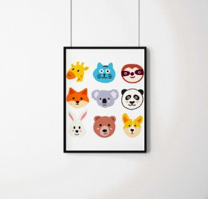 Quadro Decorativo Animais- Funny Animals Illustration.